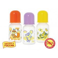 Бутылочка для кормления, Мир детства Мои любимые животные полипропиленовая с латексной соской 125 мл арт. 11146